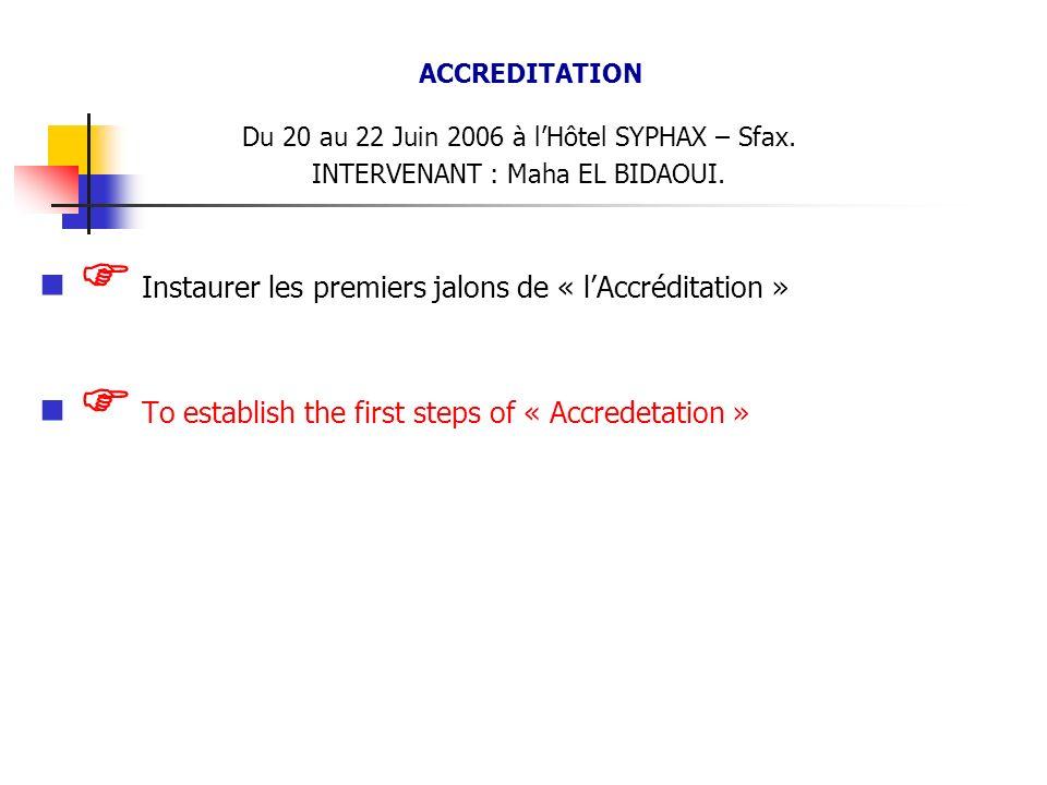 ACCREDITATION Du 20 au 22 Juin 2006 à lHôtel SYPHAX – Sfax. INTERVENANT : Maha EL BIDAOUI. Instaurer les premiers jalons de « lAccréditation » To esta