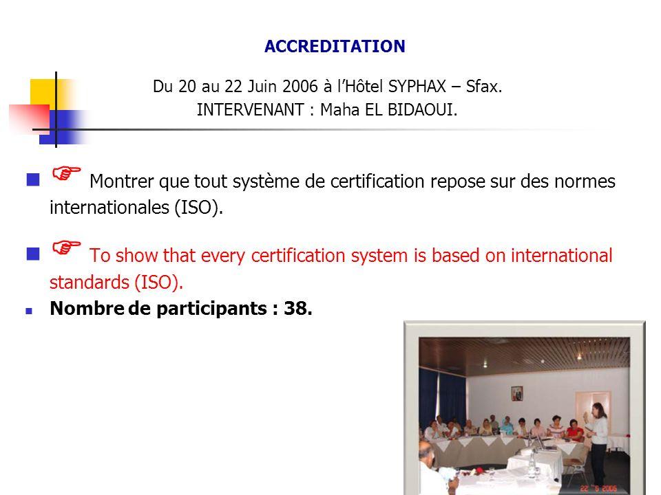 ACCREDITATION Du 20 au 22 Juin 2006 à lHôtel SYPHAX – Sfax. INTERVENANT : Maha EL BIDAOUI. Montrer que tout système de certification repose sur des no