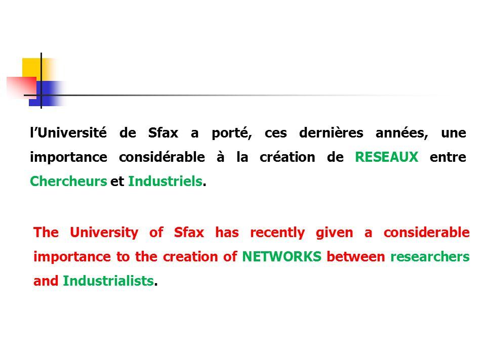 lUniversité de Sfax a porté, ces dernières années, une importance considérable à la création de RESEAUX entre Chercheurs et Industriels. The Universit