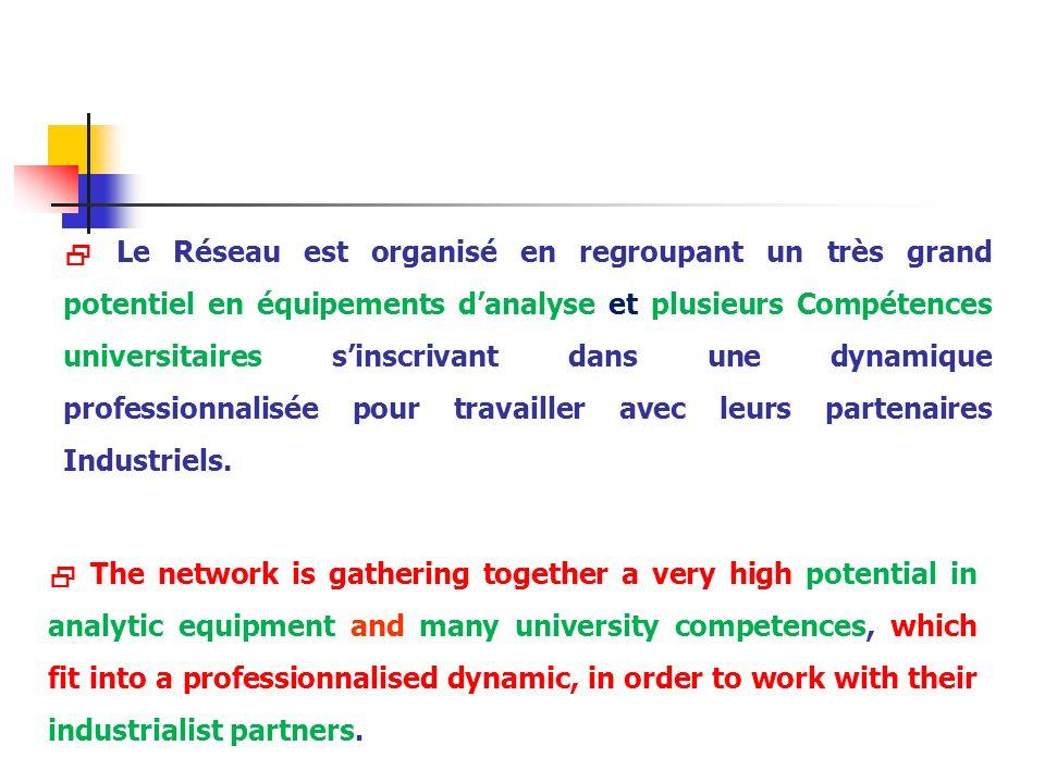 Le Réseau est organisé en regroupant un très grand potentiel en équipements danalyse et plusieurs Compétences universitaires sinscrivant dans une dyna