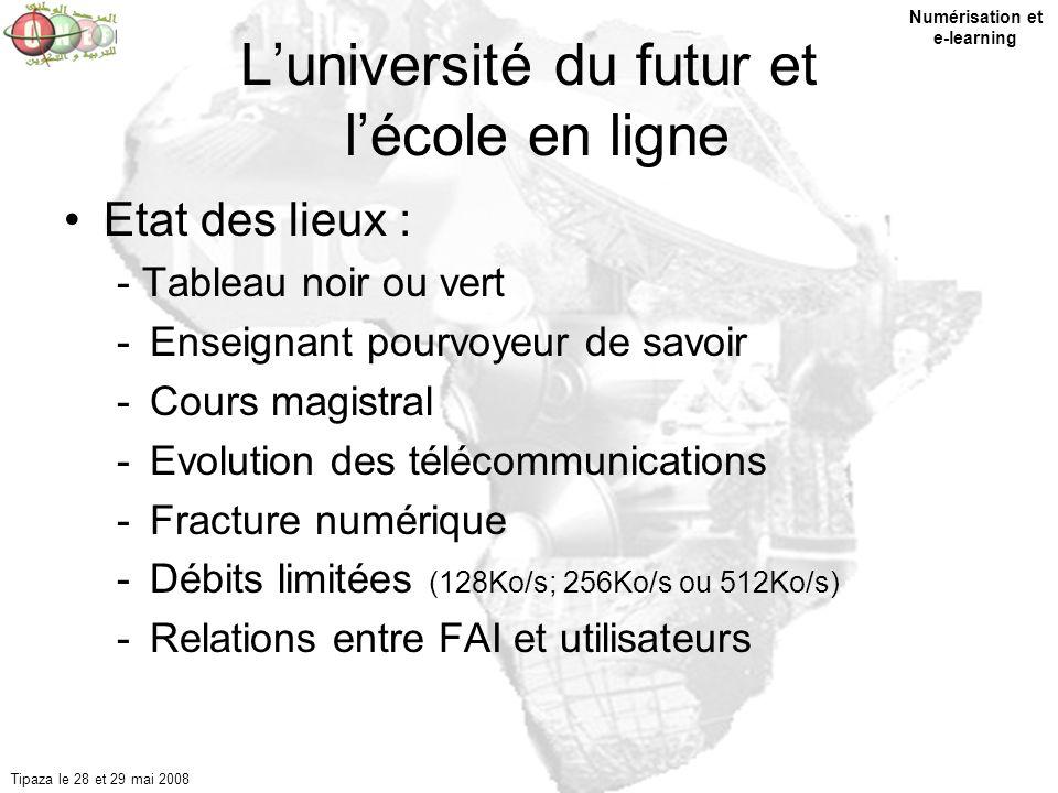 1 Luniversité du futur et lécole en ligne Etat des lieux : - Tableau noir ou vert -Enseignant pourvoyeur de savoir -Cours magistral -Evolution des tél