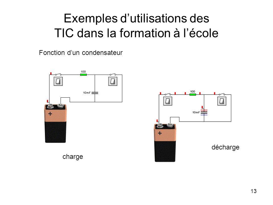 13 Exemples dutilisations des TIC dans la formation à lécole Fonction dun condensateur charge décharge