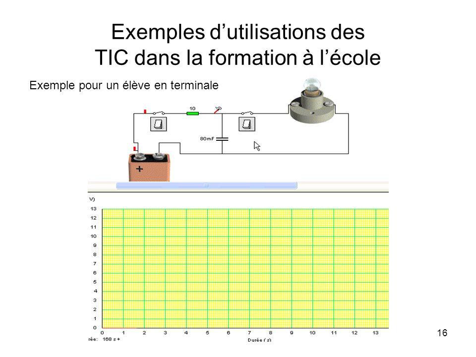 16 Exemples dutilisations des TIC dans la formation à lécole Exemple pour un élève en terminale