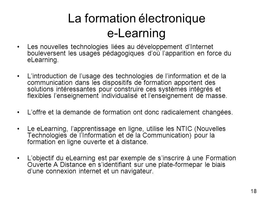 18 La formation électronique e-Learning Les nouvelles technologies liées au développement dInternet bouleversent les usages pédagogiques doù lappariti