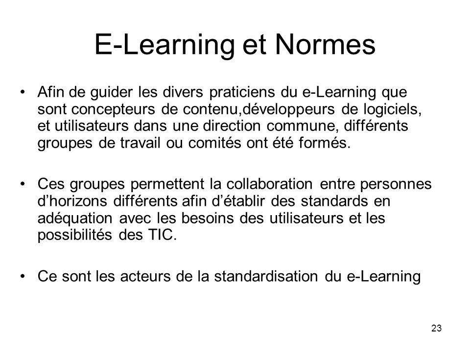 23 E-Learning et Normes Afin de guider les divers praticiens du e-Learning que sont concepteurs de contenu,développeurs de logiciels, et utilisateurs