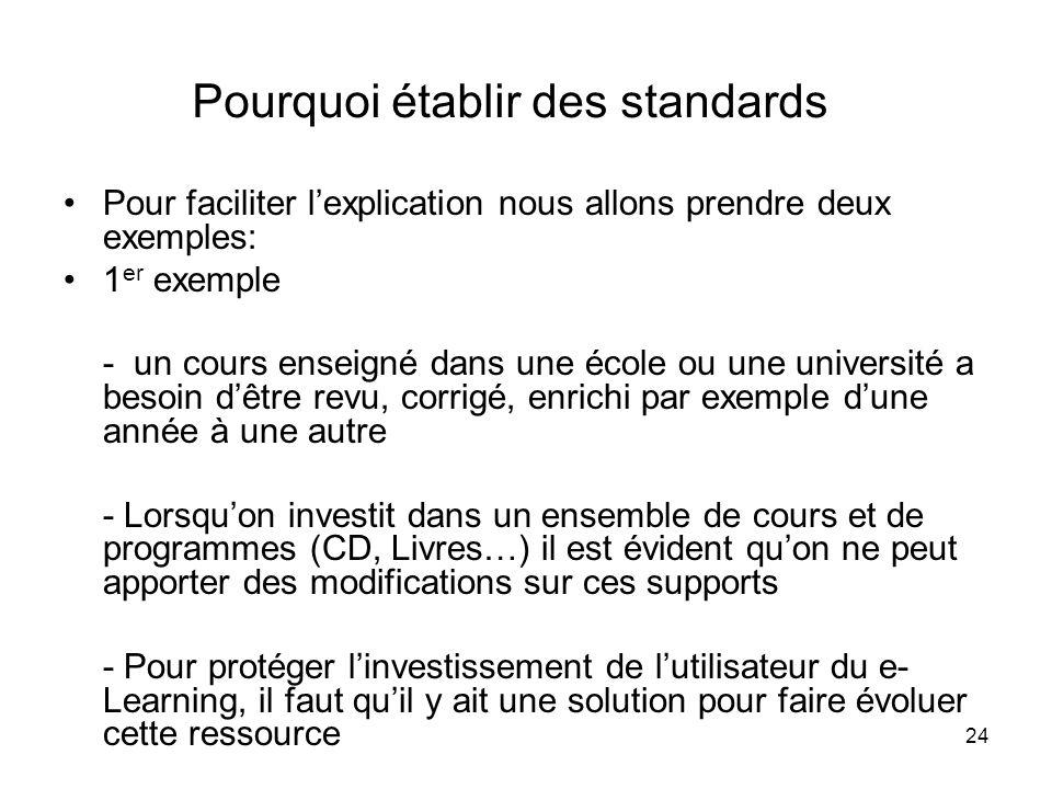 24 Pourquoi établir des standards Pour faciliter lexplication nous allons prendre deux exemples: 1 er exemple - un cours enseigné dans une école ou un