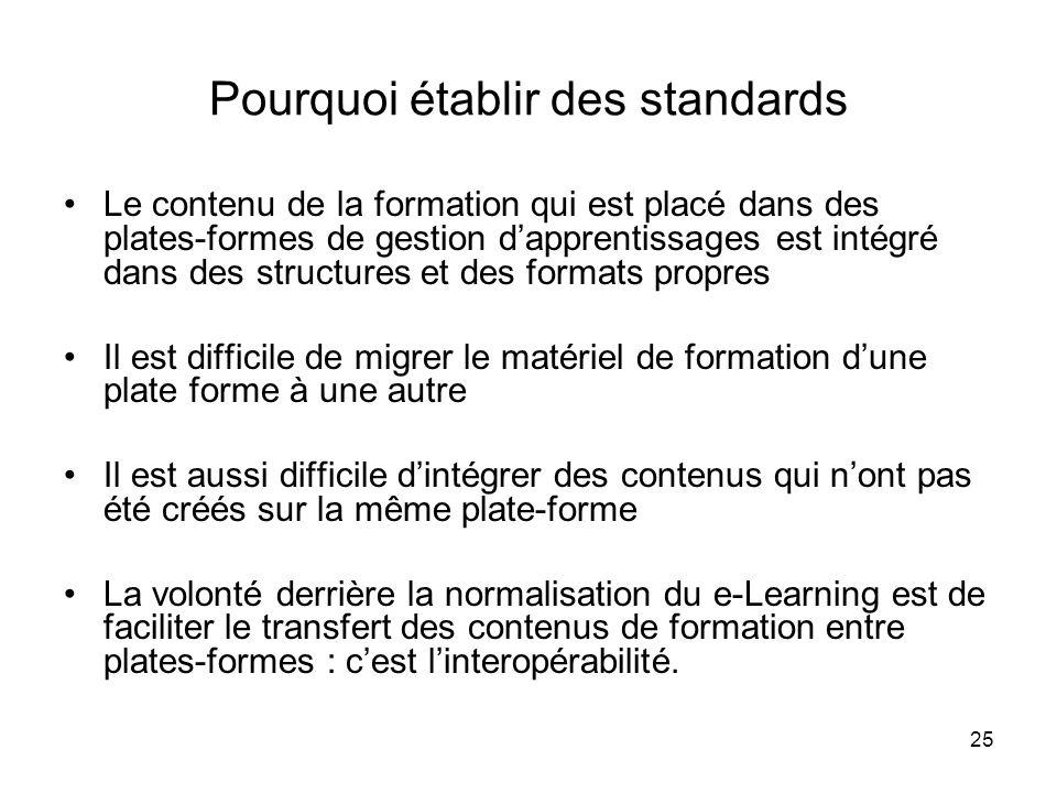 25 Pourquoi établir des standards Le contenu de la formation qui est placé dans des plates-formes de gestion dapprentissages est intégré dans des stru