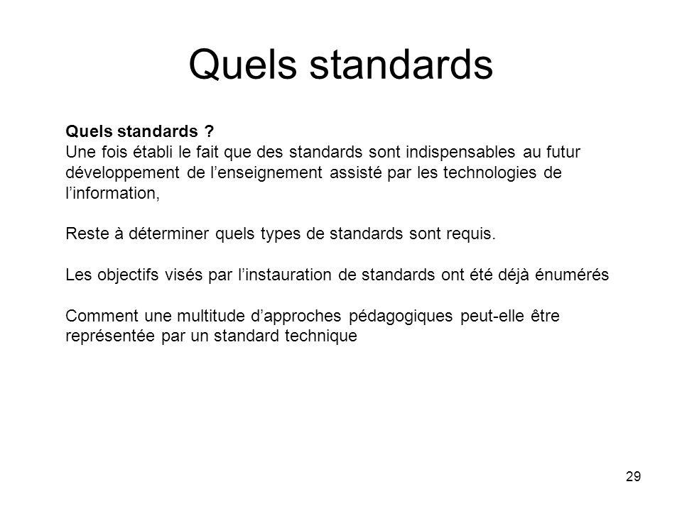 29 Quels standards Quels standards ? Une fois établi le fait que des standards sont indispensables au futur développement de lenseignement assisté par