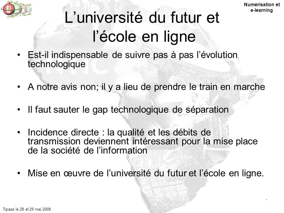 4 Luniversité du futur et lécole en ligne Est-il indispensable de suivre pas à pas lévolution technologique A notre avis non; il y a lieu de prendre l