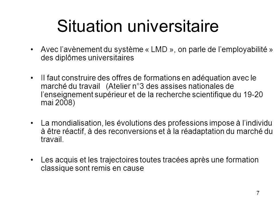 7 Situation universitaire Avec lavènement du système « LMD », on parle de lemployabilité » des diplômes universitaires Il faut construire des offres d
