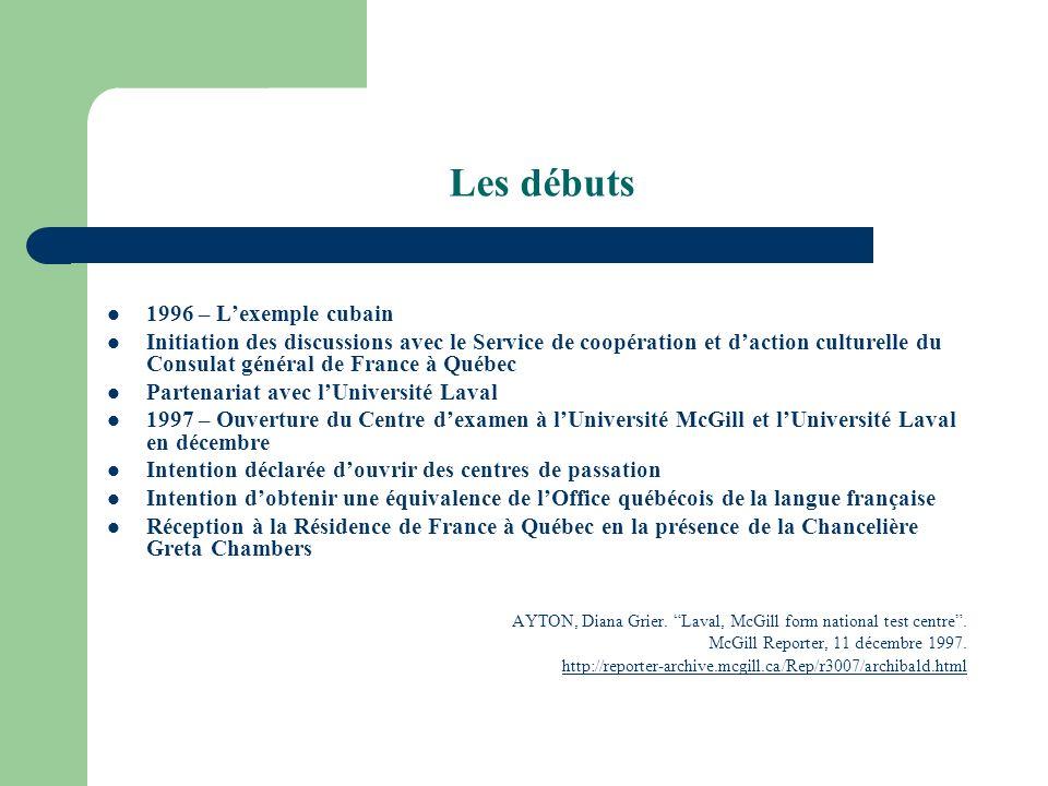 Les débuts 1996 – Lexemple cubain Initiation des discussions avec le Service de coopération et daction culturelle du Consulat général de France à Québ
