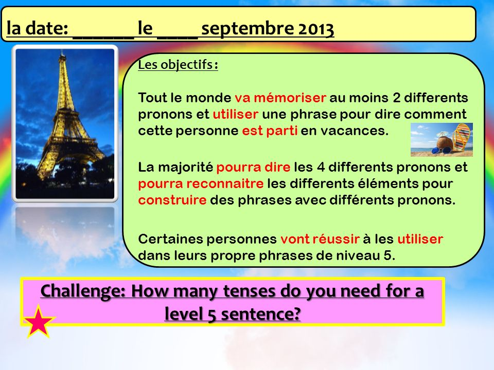 Challenge: How many tenses do you need for a level 5 sentence? Les objectifs : Tout le monde va mémoriser au moins 2 differents pronons et utiliser un