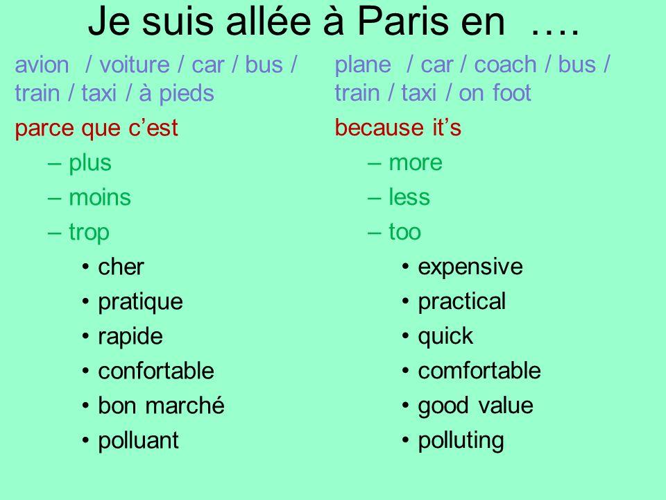 Je suis allée à Paris en …. avion / voiture / car / bus / train / taxi / à pieds parce que cest –plus –moins –trop cher pratique rapide confortable bo