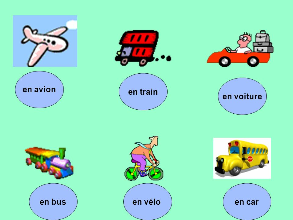 en caren vélo en train en voiture en bus en avion