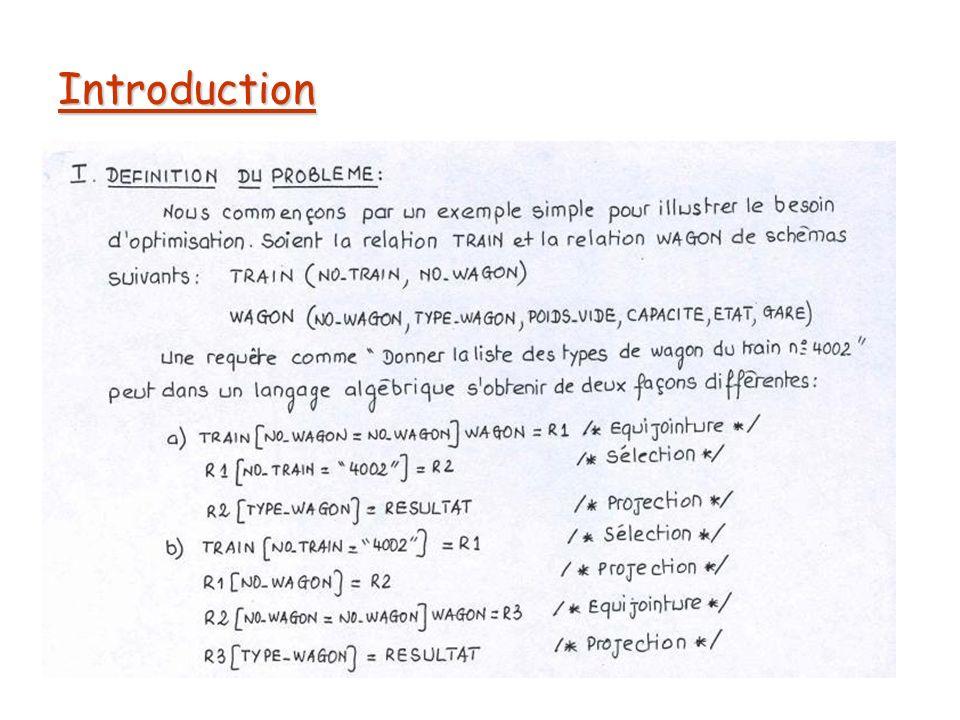Quantification des solutions En terme de flux de données, ce la se traduit par : Lire Train ------------ 60.000 tuples x 10 caractères Calculer R1 ---------- 30 tuples x 10 caractères Calculer R2 ---------- 30 tuples x 6 caractères Lire Wagon --------- 200.000 tuples x 30 caractères