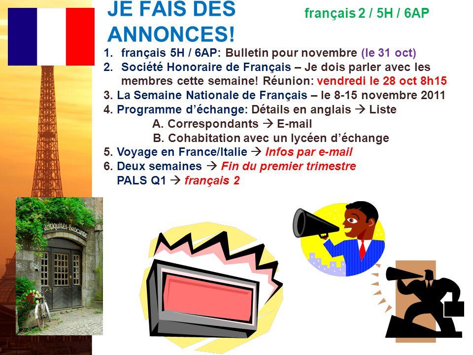 français 6AP le 25 octobre 2011 ActivitéClasseur MAINTENANT S.V.P.