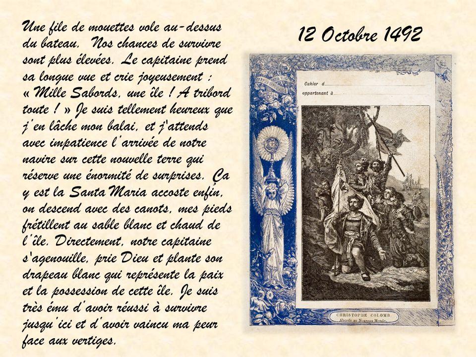 12 Octobre 1492 Une file de mouettes vole au-dessus du bateau. Nos chances de survivre sont plus élevées. Le capitaine prend sa longue vue et crie joy
