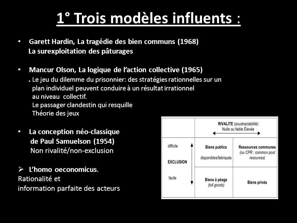 1° Trois modèles influents : Garett Hardin, La tragédie des bien communs (1968) La surexploitation des pâturages Mancur Olson, La logique de laction collective (1965).