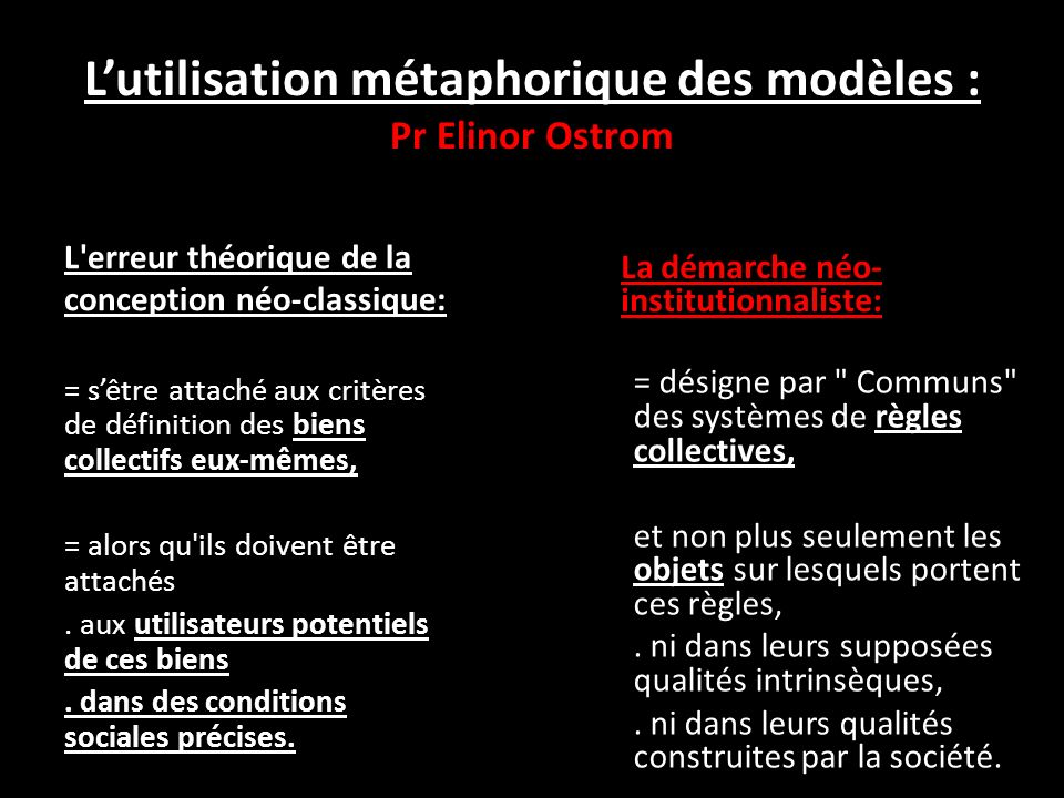Lutilisation métaphorique des modèles : Pr Elinor Ostrom L erreur théorique de la conception néo-classique: = sêtre attaché aux critères de définition des biens collectifs eux-mêmes, = alors qu ils doivent être attachés.