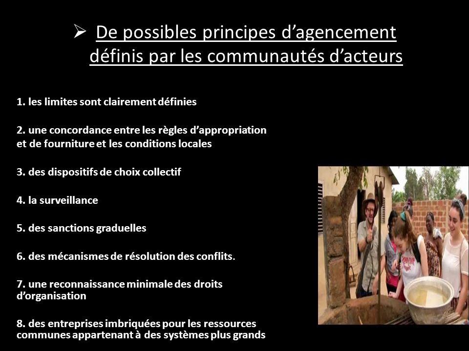 De possibles principes dagencement définis par les communautés dacteurs 1. les limites sont clairement définies 2. une concordance entre les règles da