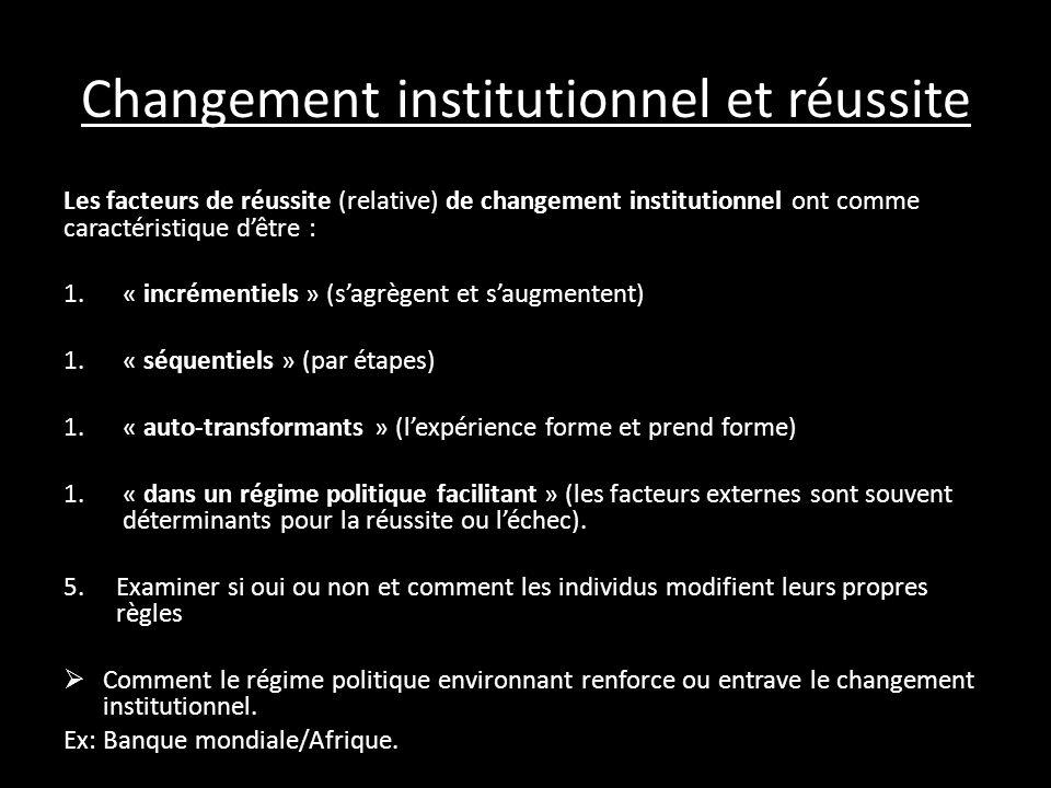 Changement institutionnel et réussite Les facteurs de réussite (relative) de changement institutionnel ont comme caractéristique dêtre : 1.« incrément