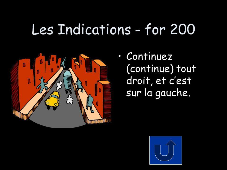 Les Indications - for 200 Continuez (continue) tout droit, et cest sur la gauche.
