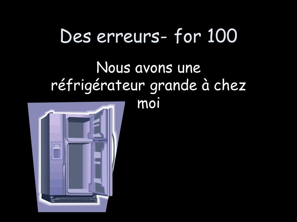 Des erreurs- for 100 Nous avons une réfrigérateur grande à chez moi
