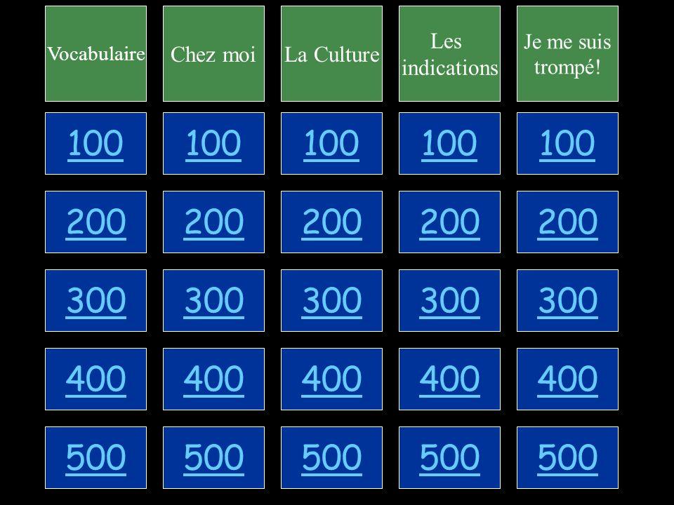 100 200 300 400 500 Vocabulaire Chez moiLa Culture Les indications Je me suis trompé.