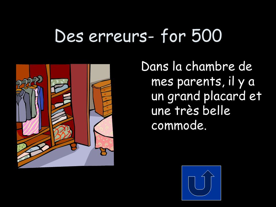 Des erreurs- for 500 Dans la chambre de mes parents, il y a un grand placard et une très belle commode.