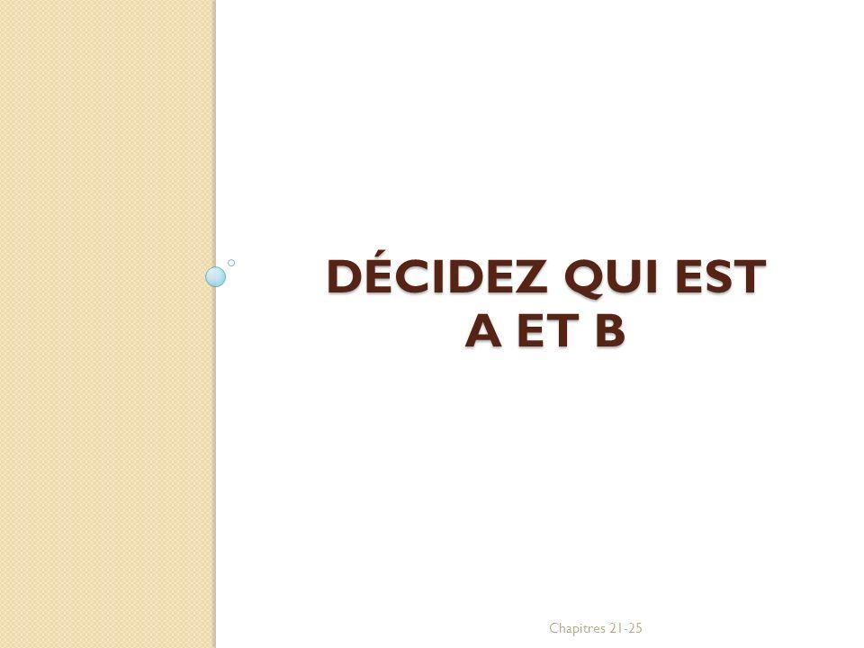 DÉCIDEZ QUI EST A ET B Chapitres 21-25