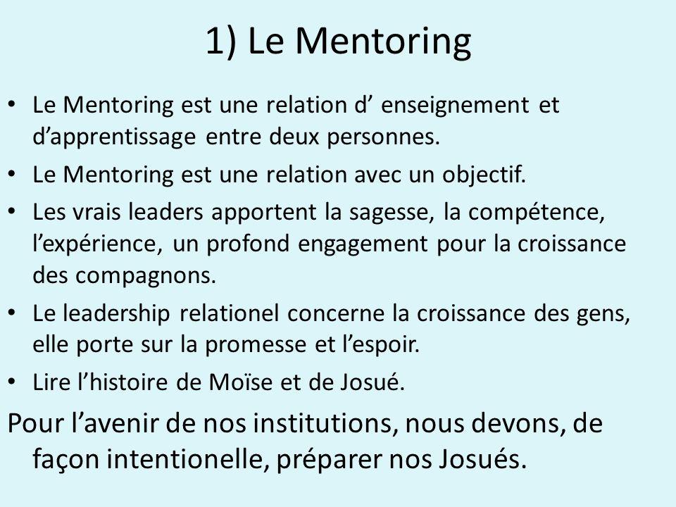 1) Le Mentoring Le Mentoring est une relation d enseignement et dapprentissage entre deux personnes.