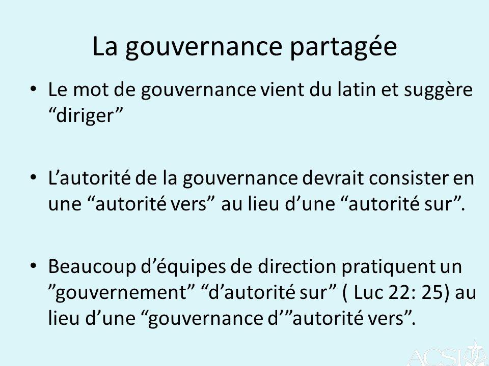 La gouvernance partagée Le mot de gouvernance vient du latin et suggère diriger Lautorité de la gouvernance devrait consister en une autorité vers au lieu dune autorité sur.