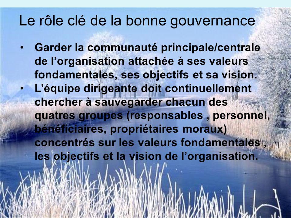 Garder la communauté principale/centrale de lorganisation attachée à ses valeurs fondamentales, ses objectifs et sa vision.