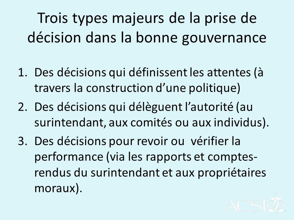 Trois types majeurs de la prise de décision dans la bonne gouvernance 1.Des décisions qui définissent les attentes (à travers la construction dune politique) 2.Des décisions qui délèguent lautorité (au surintendant, aux comités ou aux individus).