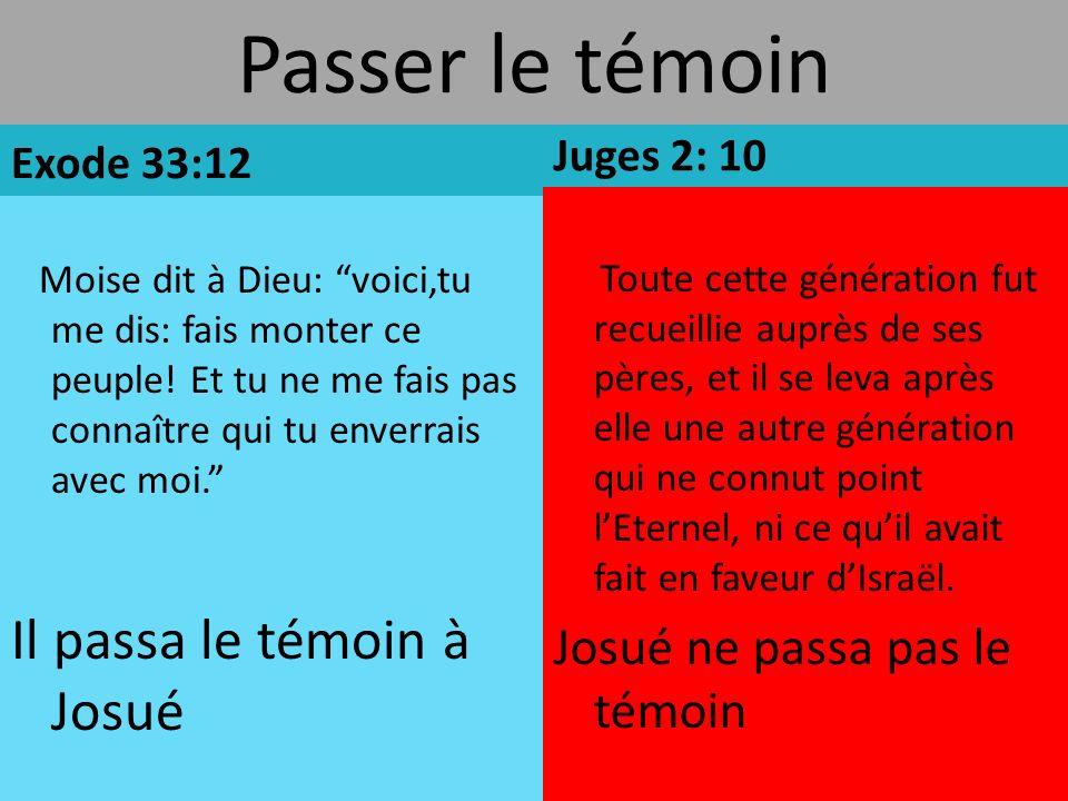 Passer le témoin Exode 33:12 Moise dit à Dieu: voici,tu me dis: fais monter ce peuple.