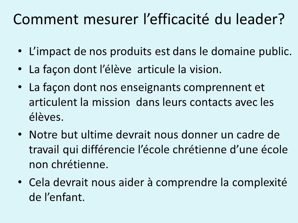 Comment mesurer lefficacité du leader. Limpact de nos produits est dans le domaine public.