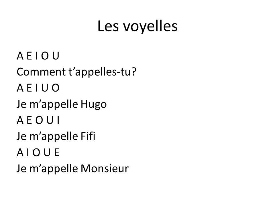 Les voyelles A E I O U Comment tappelles-tu? A E I U O Je mappelle Hugo A E O U I Je mappelle Fifi A I O U E Je mappelle Monsieur