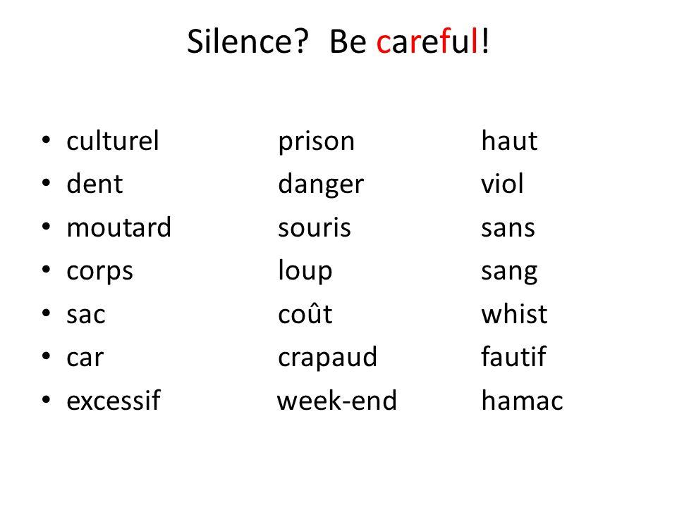 Silence? Be careful! culturelprisonhaut dentdangerviol moutardsourissans corpsloupsang saccoûtwhist carcrapaudfautif excessif week-endhamac