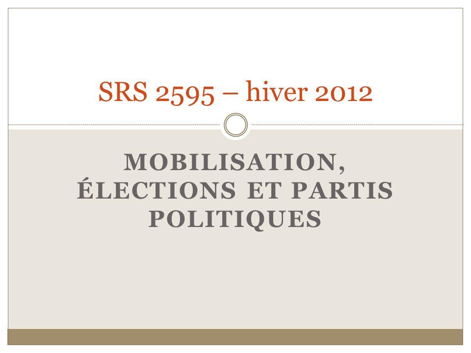 MOBILISATION, ÉLECTIONS ET PARTIS POLITIQUES SRS 2595 – hiver 2012