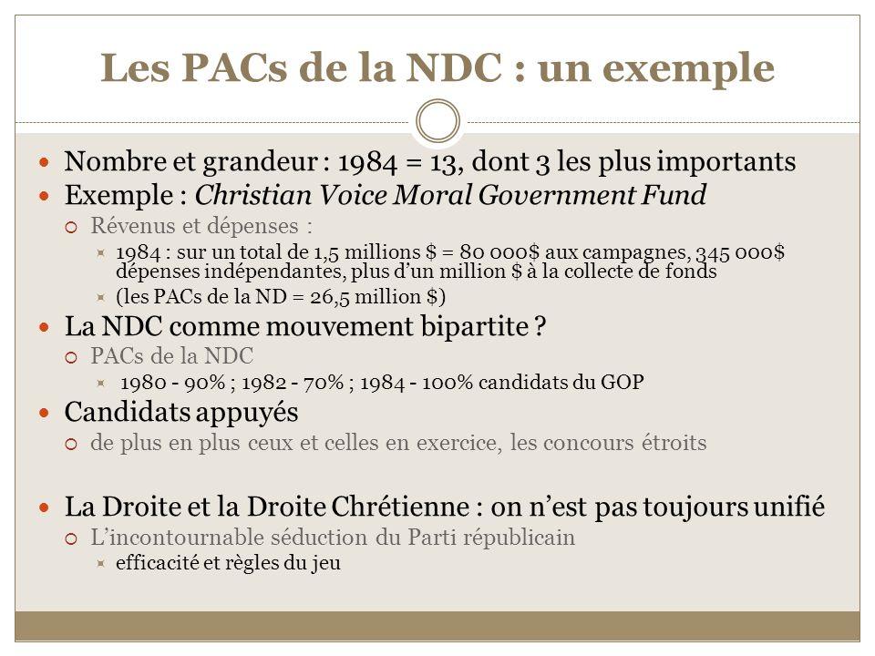 Les PACs de la NDC : un exemple Nombre et grandeur : 1984 = 13, dont 3 les plus importants Exemple : Christian Voice Moral Government Fund Révenus et dépenses : 1984 : sur un total de 1,5 millions $ = 80 000$ aux campagnes, 345 000$ dépenses indépendantes, plus dun million $ à la collecte de fonds (les PACs de la ND = 26,5 million $) La NDC comme mouvement bipartite .