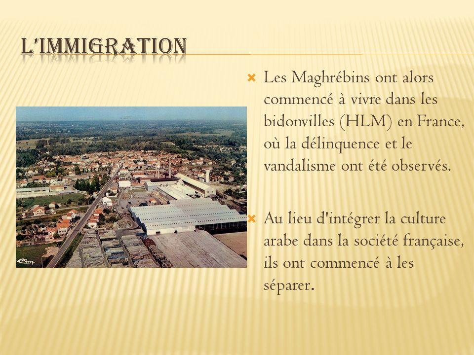 Les Maghrébins ont alors commencé à vivre dans les bidonvilles (HLM) en France, où la délinquence et le vandalisme ont été observés. Au lieu d'intégre