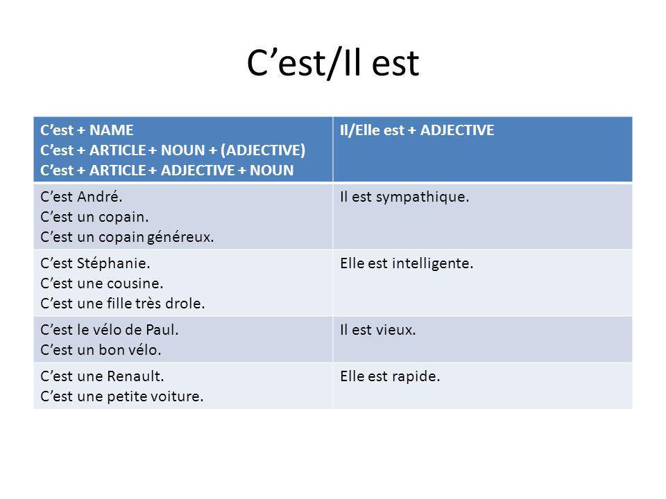 Cest/Il est Cest + NAME Cest + ARTICLE + NOUN + (ADJECTIVE) Cest + ARTICLE + ADJECTIVE + NOUN Il/Elle est + ADJECTIVE Cest André. Cest un copain. Cest