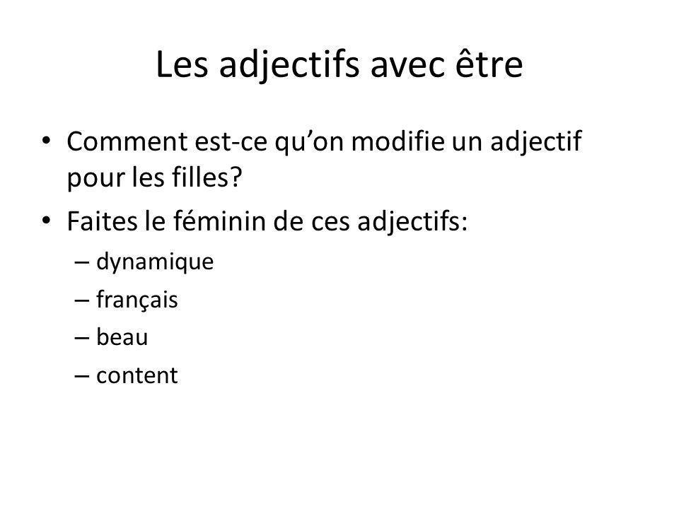 Les adjectifs avec être Comment est-ce quon modifie un adjectif pour les filles? Faites le féminin de ces adjectifs: – dynamique – français – beau – c