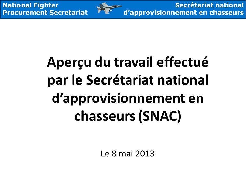 National Fighter Procurement Secretariat Secrétariat national dapprovisionnement en chasseurs Aperçu du travail effectué par le Secrétariat national d