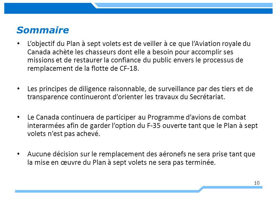Sommaire Lobjectif du Plan à sept volets est de veiller à ce que lAviation royale du Canada achète les chasseurs dont elle a besoin pour accomplir ses missions et de restaurer la confiance du public envers le processus de remplacement de la flotte de CF-18.