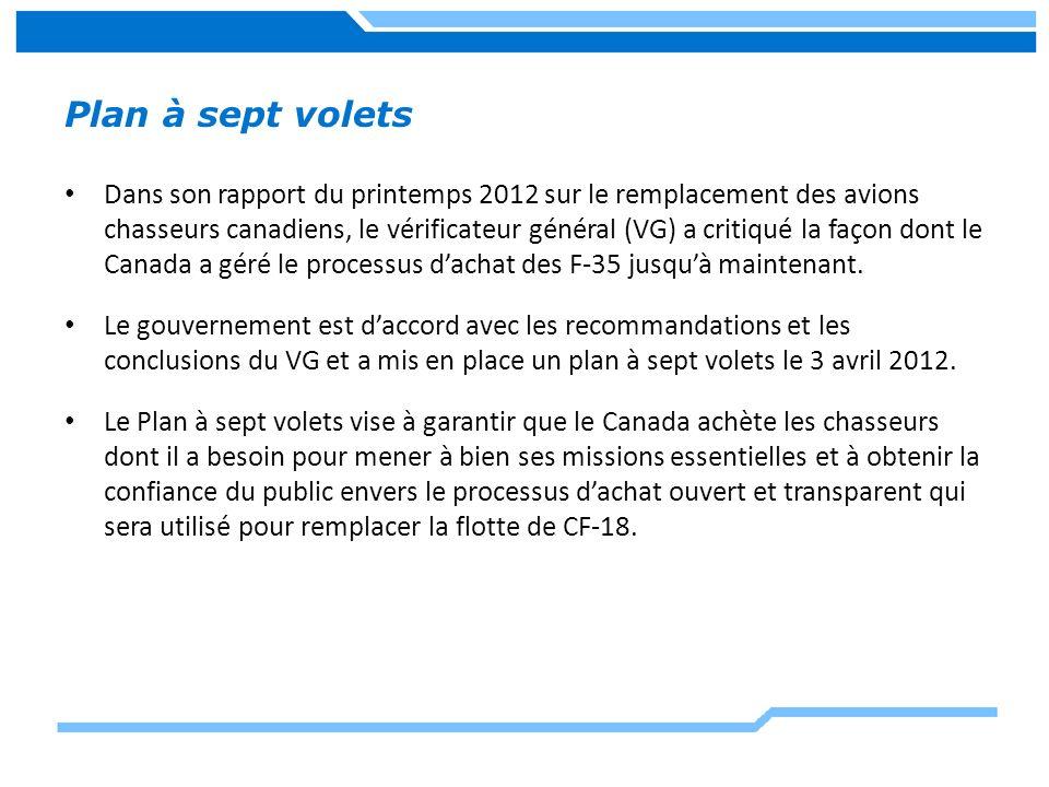 Plan à sept volets Dans son rapport du printemps 2012 sur le remplacement des avions chasseurs canadiens, le vérificateur général (VG) a critiqué la f