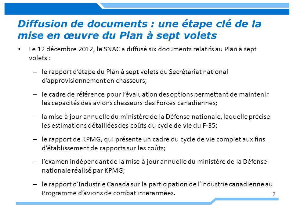 Diffusion de documents : une étape clé de la mise en œuvre du Plan à sept volets Le 12 décembre 2012, le SNAC a diffusé six documents relatifs au Plan