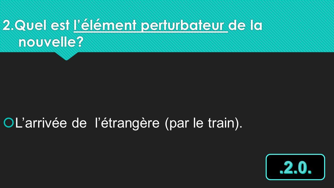 2.Quel est lélément perturbateur de la nouvelle? Larrivée de létrangère (par le train).