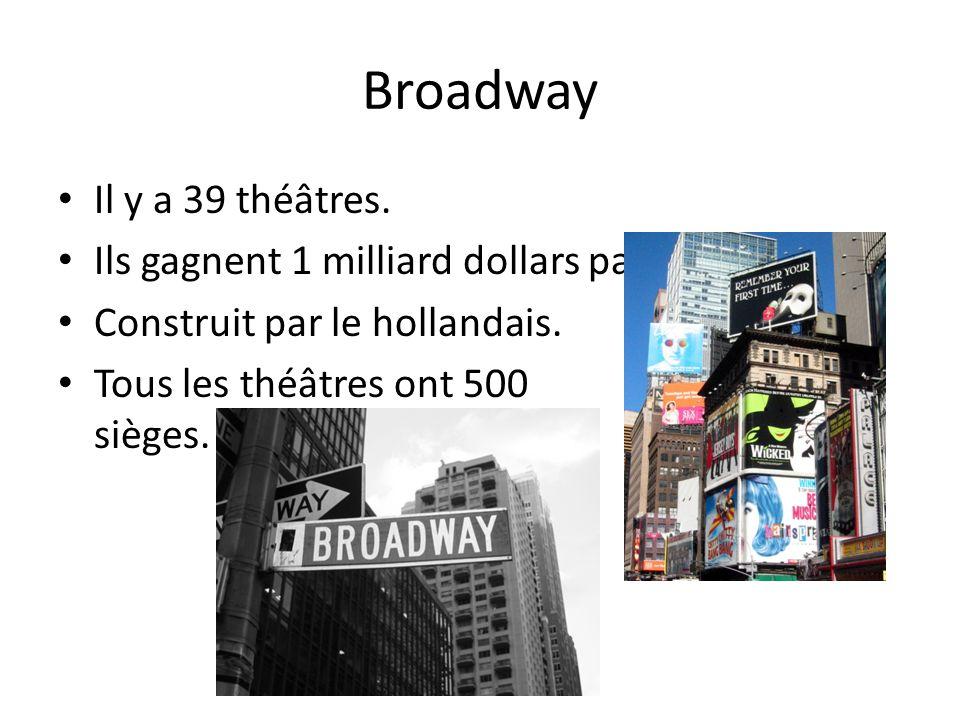 Broadway Il y a 39 théâtres. Ils gagnent 1 milliard dollars par an. Construit par le hollandais. Tous les théâtres ont 500 sièges.