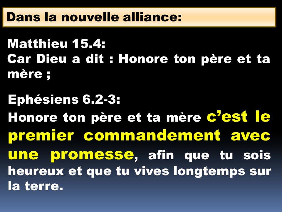 Dans la nouvelle alliance: Matthieu 15.4: Car Dieu a dit : Honore ton père et ta mère ; Ephésiens 6.2-3: Honore ton père et ta mère cest le premier co